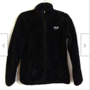Fila black fuzzy zip front jacket size M
